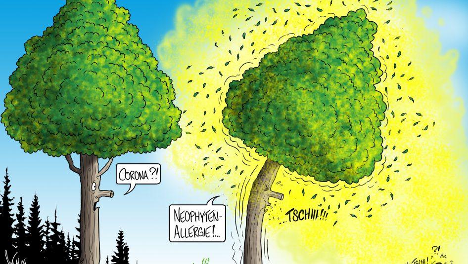 20200519 Cartoon Neophyten 946x535 - Gartenabfälle schaden der Waldgesundheit